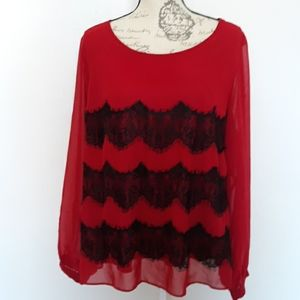 Simply Be 16 Red and Black Long Sleeved Bl…